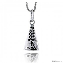 Sterling Silver Indian Tent Pendant, 3/4 in tall