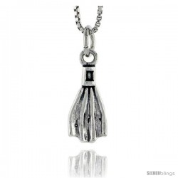 Sterling Silver Scuba Diving Fin Pendant, 5/8 in tall