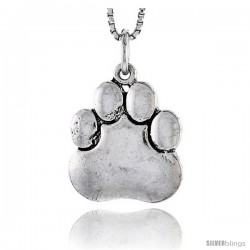 Sterling Silver Bear Paw Pendant, 3/4 in tall