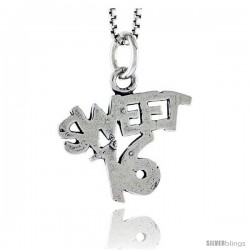 Sterling Silver Sweet 16 Talking Pendant, 1/2 in tall -Style Pa1918