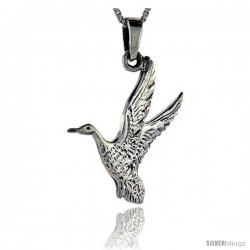 Sterling Silver Goose Pendant, 1 1/2 in tall
