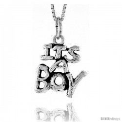 Sterling Silver It's a Boy Talking Pendant, 3/4 in tall