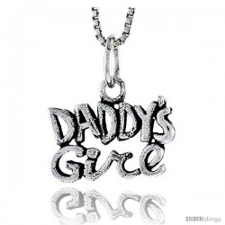 Sterling Silver Daddy's Girl Talking Pendant, 1/2 in tall