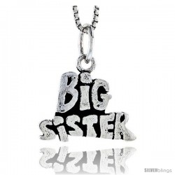 Sterling Silver Big Sister Talking Pendant, 1/2 in tall