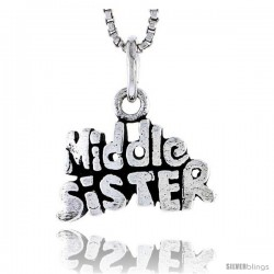 Sterling Silver Middle Sister Talking Pendant, 1/2 in tall