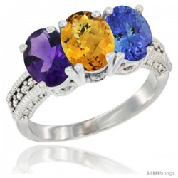 14K White Gold Natural Amethyst, Whisky Quartz & Tanzanite Ring 3-Stone 7x5 mm Oval Diamond Accent