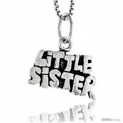 Sterling Silver Little Sister Talking Pendant, 1/2 in tall