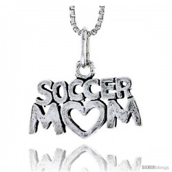 Sterling Silver Soccer Mom Talking Pendant, 1/2 in tall