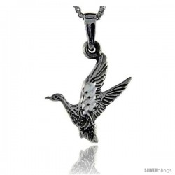 Sterling Silver Goose Pendant, 1 1/8 in tall