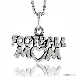 Sterling Silver Football Mom Talking Pendant, 3/8 in tall