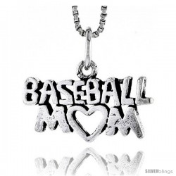 Sterling Silver Baseball Mom Talking Pendant, 1/2 in tall