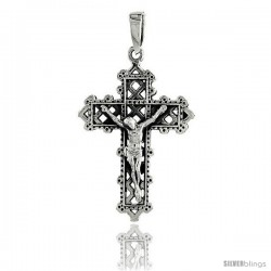 Sterling Silver Crucifix Pendant, 1 3/8 in tall -Style Pa1936