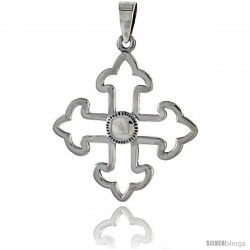 Sterling Silver Cross Fleury Pendant, 1 1/4 in tall