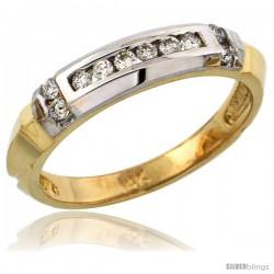 14k Gold Ladies' Diamond Band w/ Rhodium Accent, w/ 0.19 Carat Brilliant Cut Diamonds, 5/32 in. (4mm) wide