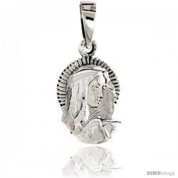 Sterling Silver Blessed Virgin Mary Pendant, 3/4 in tall