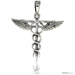 Sterling Silver Caduceus Medical Insignia Pendant, 1 1/8 in tall