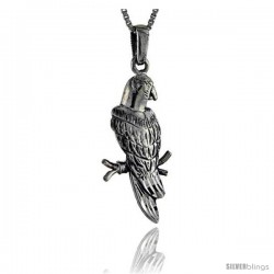 Sterling Silver Parrot Pendant, 1 5/8 in tall