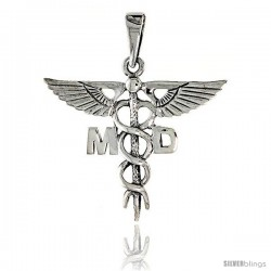 Sterling Silver Caduceus (Medical Symbol) Pendant, 1 in tall