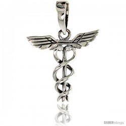 Sterling Silver Caduceus (Medical Symbol) Pendant, 3/4 in tall -Style Pa1954