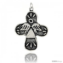 Sterling Silver Crucifix w/ Angel Design Pendant, 1 1/4 in tall