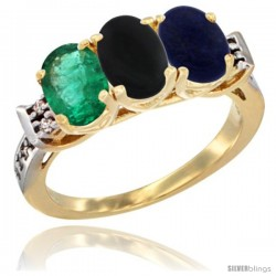 10K Yellow Gold Natural Emerald, Black Onyx & Lapis Ring 3-Stone Oval 7x5 mm Diamond Accent