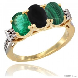 10K Yellow Gold Natural Emerald, Black Onyx & Malachite Ring 3-Stone Oval 7x5 mm Diamond Accent