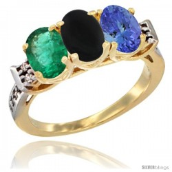 10K Yellow Gold Natural Emerald, Black Onyx & Tanzanite Ring 3-Stone Oval 7x5 mm Diamond Accent