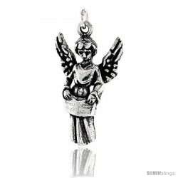 Sterling Silver Guardian Angel Pendant, 1 in tall