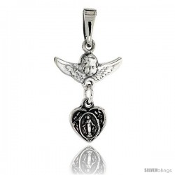 Sterling Silver Cherub Angel & Blessed Mother Pendant, 3/4 in tall