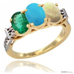 10K Yellow Gold Natural Emerald, Turquoise & Opal Ring 3-Stone Oval 7x5 mm Diamond Accent