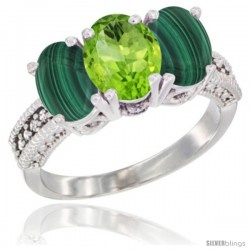 14K White Gold Natural Peridot Ring with Malachite 3-Stone 7x5 mm Oval Diamond Accent