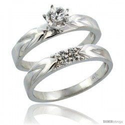 14k White Gold 2-Piece Diamond Engagement Ring Band Set w/ 0.11 Carat Brilliant Cut Diamonds, 1/8 in. (3.5mm) wide