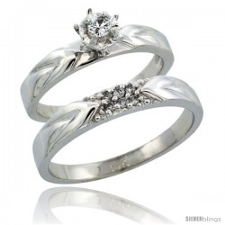 14k White Gold 2-Piece Diamond Ring Band Set w/ Rhodium Accent ( Engagement Ring & Man's Wedding Band ), w/ 0.13 Carat