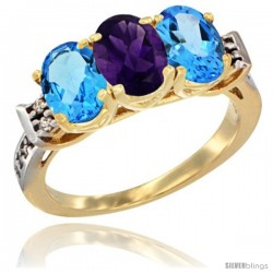 10K Yellow Gold Natural Amethyst & Swiss Blue Topaz Sides Ring 3-Stone Oval 7x5 mm Diamond Accent