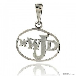 Sterling Silver Encircled WWJD Pendant, 1/2 in tall