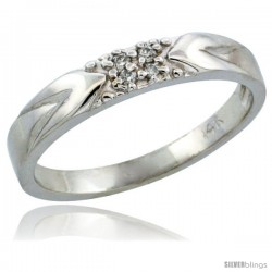 14k White Gold Ladies' Diamond Ring Band w/ 0.04 Carat Brilliant Cut Diamonds, 1/8 in. (3.5mm) wide