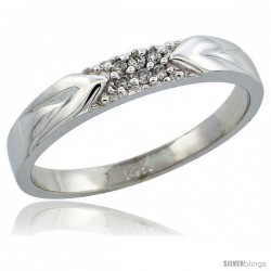 14k White Gold Men's Diamond Ring Band w/ 0.06 Carat Brilliant Cut Diamonds, 1/8 in. (3.5mm) wide
