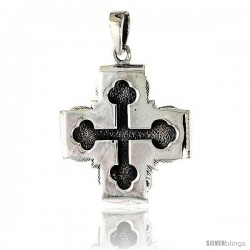 Sterling Silver Budded Cross Pendant, 1 1/4 in tall