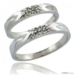 14k White Gold 2-Piece His (3.5mm) & Hers (3.5mm) Diamond Wedding Ring Band Set w/ 0.10 Carat Brilliant Cut Diamonds