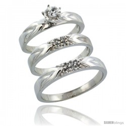 14k White Gold 3-Piece Trio His (3.5mm) & Hers (3.5mm) Diamond Wedding Ring Band Set w/ 0.17 Carat Brilliant Cut Diamonds