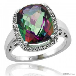 14k White Gold Diamond Mystic Topaz Ring 5.17 ct Checkerboard Cut Cushion 12x10 mm, 1/2 in wide