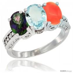 14K White Gold Natural Mystic Topaz, Aquamarine & Coral Ring 3-Stone 7x5 mm Oval Diamond Accent