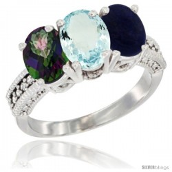 14K White Gold Natural Mystic Topaz, Aquamarine & Lapis Ring 3-Stone 7x5 mm Oval Diamond Accent