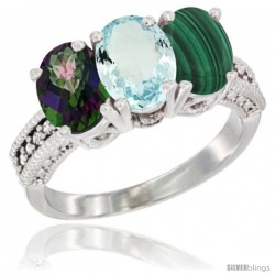14K White Gold Natural Mystic Topaz, Aquamarine & Malachite Ring 3-Stone 7x5 mm Oval Diamond Accent