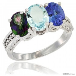 14K White Gold Natural Mystic Topaz, Aquamarine & Tanzanite Ring 3-Stone 7x5 mm Oval Diamond Accent