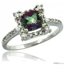 14k White Gold Diamond Halo Mystic Topaz Ring 1.2 ct Checkerboard Cut Cushion 6 mm, 11/32 in wide