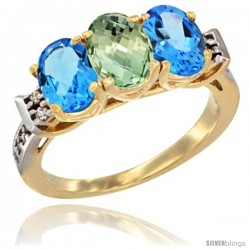 10K Yellow Gold Natural Green Amethyst & Swiss Blue Topaz Sides Ring 3-Stone Oval 7x5 mm Diamond Accent