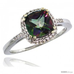 14k White Gold Diamond Mystic Topaz Ring 1.5 ct Checkerboard Cut Cushion Shape 7 mm, 3/8 in wide