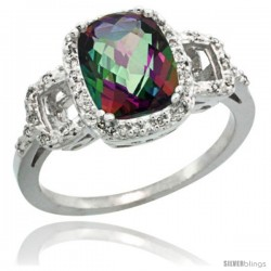 14k White Gold Diamond Mystic Topaz Ring 2 ct Checkerboard Cut Cushion Shape 9x7 mm, 1/2 in wide