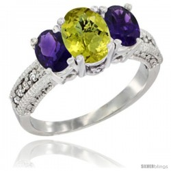 14k White Gold Ladies Oval Natural Lemon Quartz 3-Stone Ring with Amethyst Sides Diamond Accent